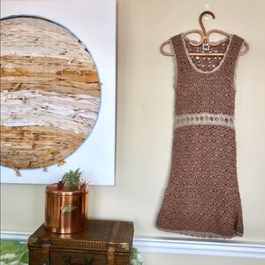 M Missoni Gold and Taupe Knitted Body Con Dress